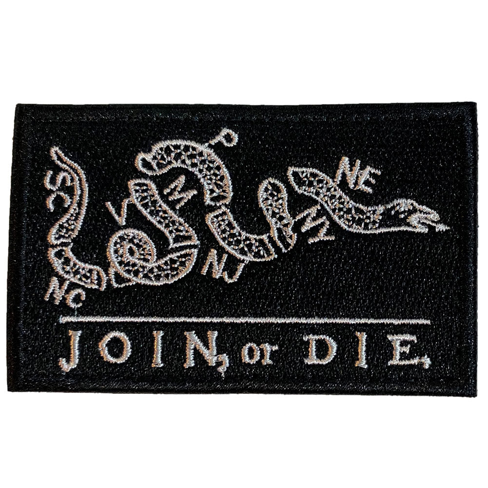 Join or Die Benjamin Franklin Cartoon Embroidered Velcro Patch - Black