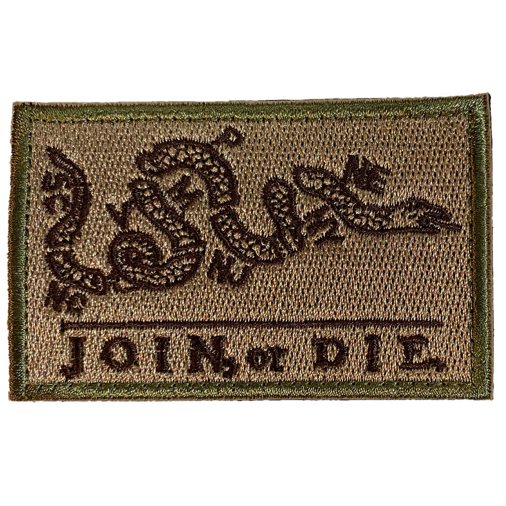 Join or Die Benjamin Franklin Cartoon Embroidered Velcro Patch - Brown