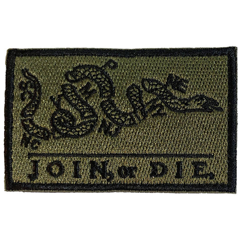 Join or Die Benjamin Franklin Cartoon Embroidered Velcro Patch - Green