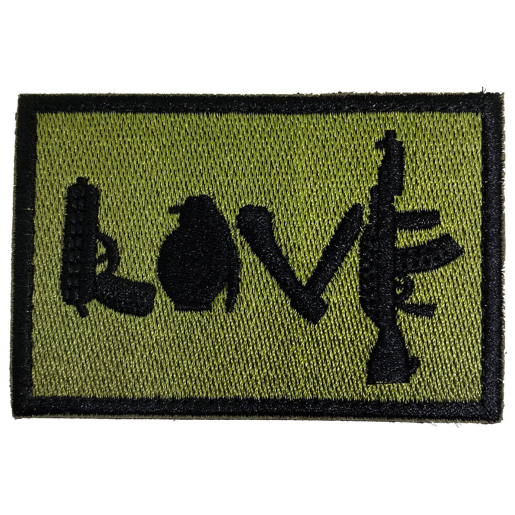 Love Spelled With Guns & Weapons Embroidered Velcro Patch