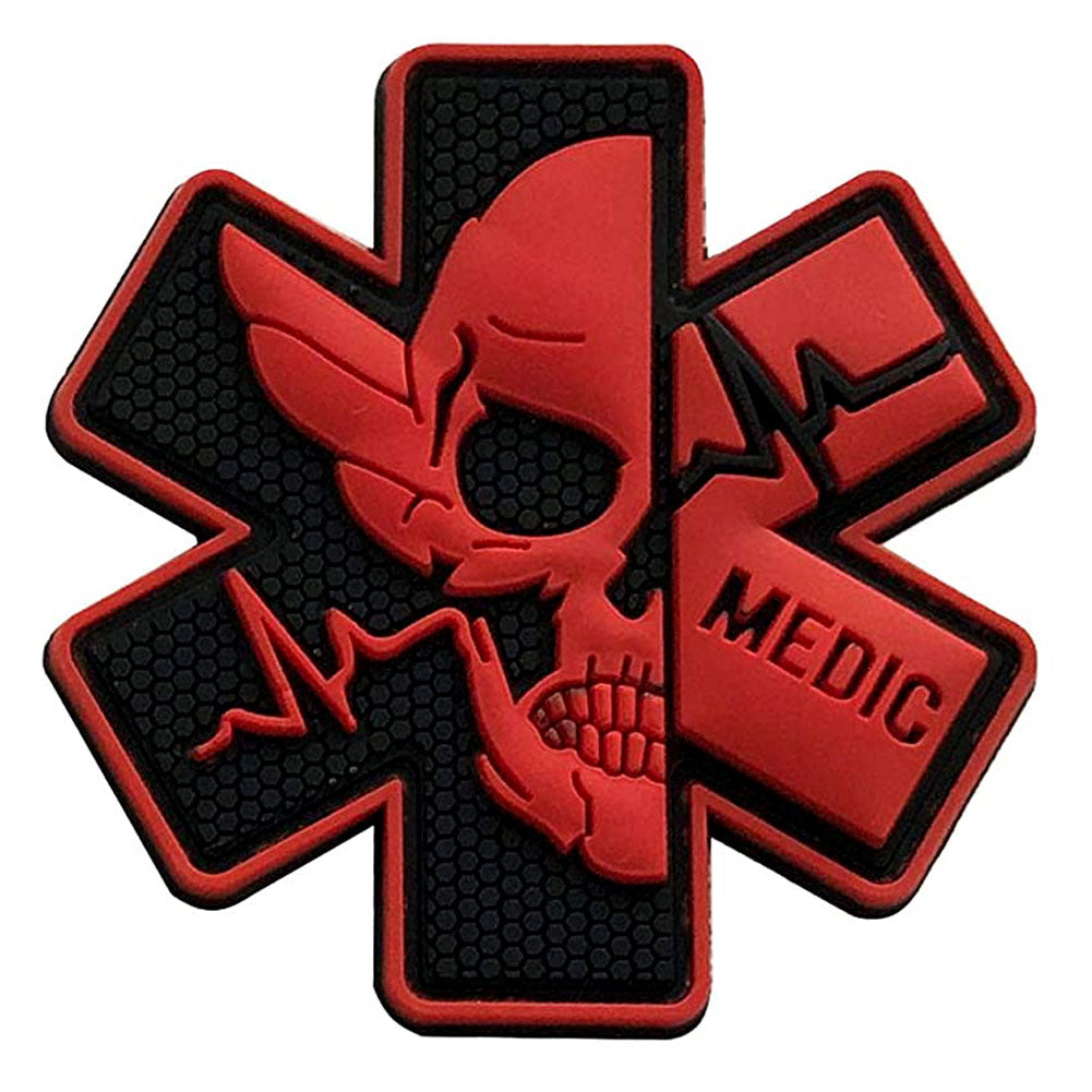 Medic Star of Life Paramedic PVC Velcro Patch - Black / Red