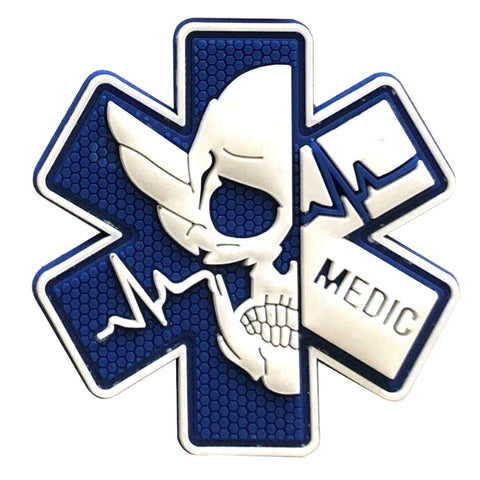 Medic Star of Life Paramedic PVC Velcro Patch - Blue / Glow White