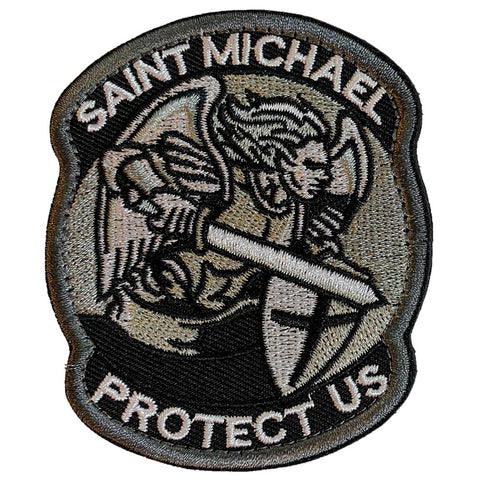 Saint Michael Protect Us Embroidered Velcro Patch - Version 1