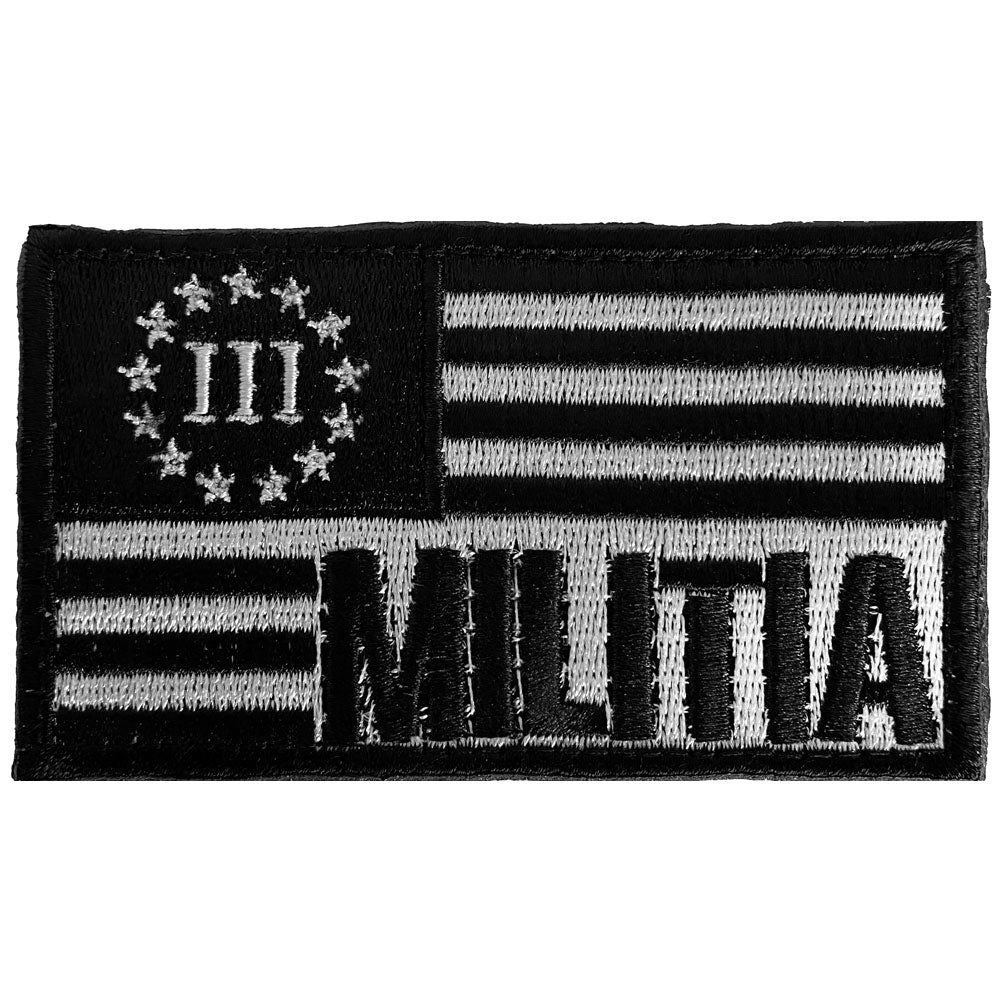 Three Percenter Militia Flag Embroidered Velcro Patch - Black