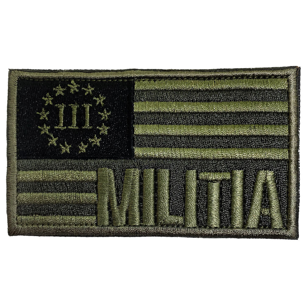 Three Percenter Militia Flag Embroidered Velcro Patch - OD Green