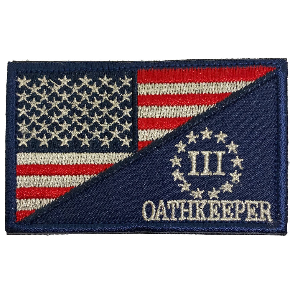 Three Percenter Oathkeeper American Flag Embroidered Velcro Patch