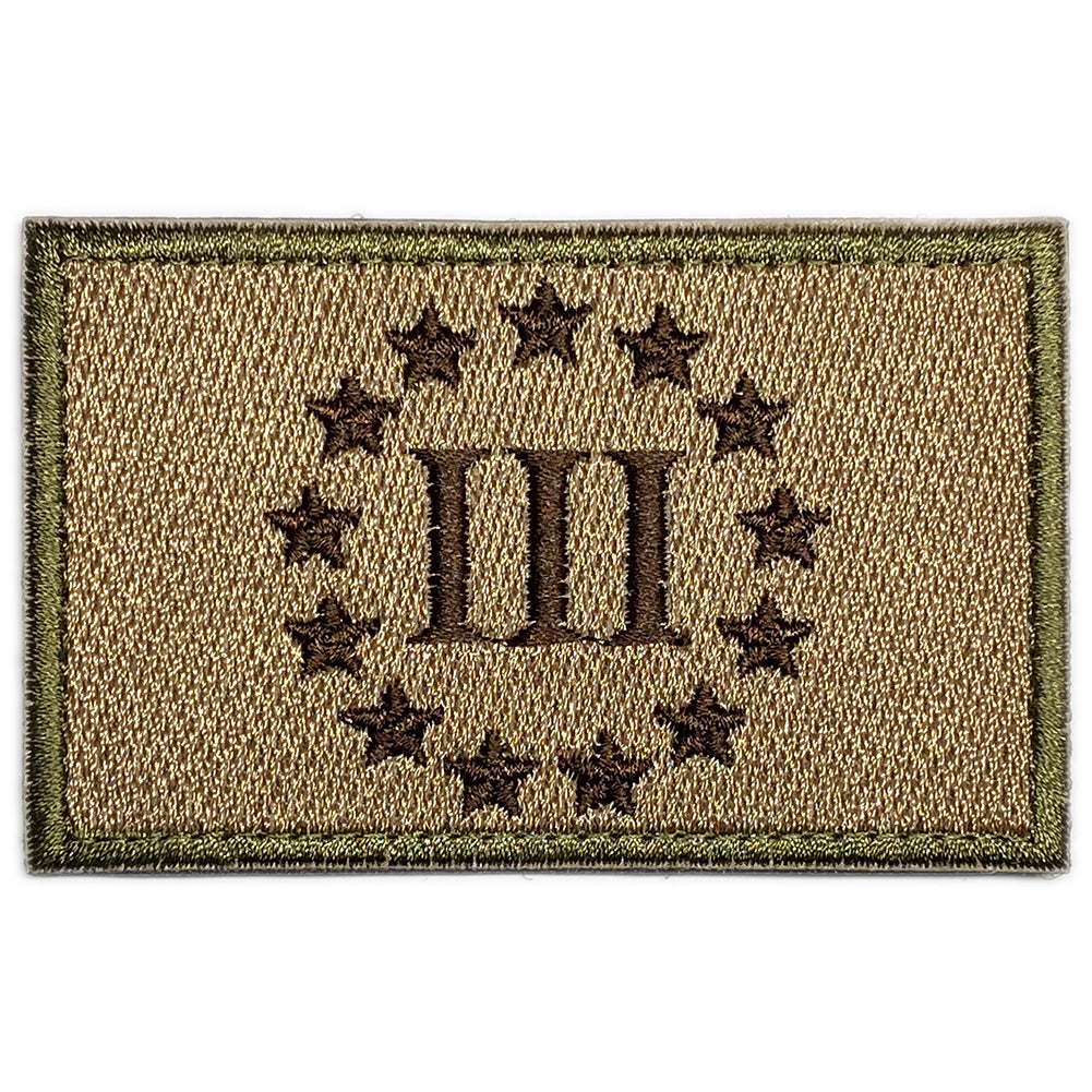 Three Percenter III & 13 Stars Velcro Patch - Coyote