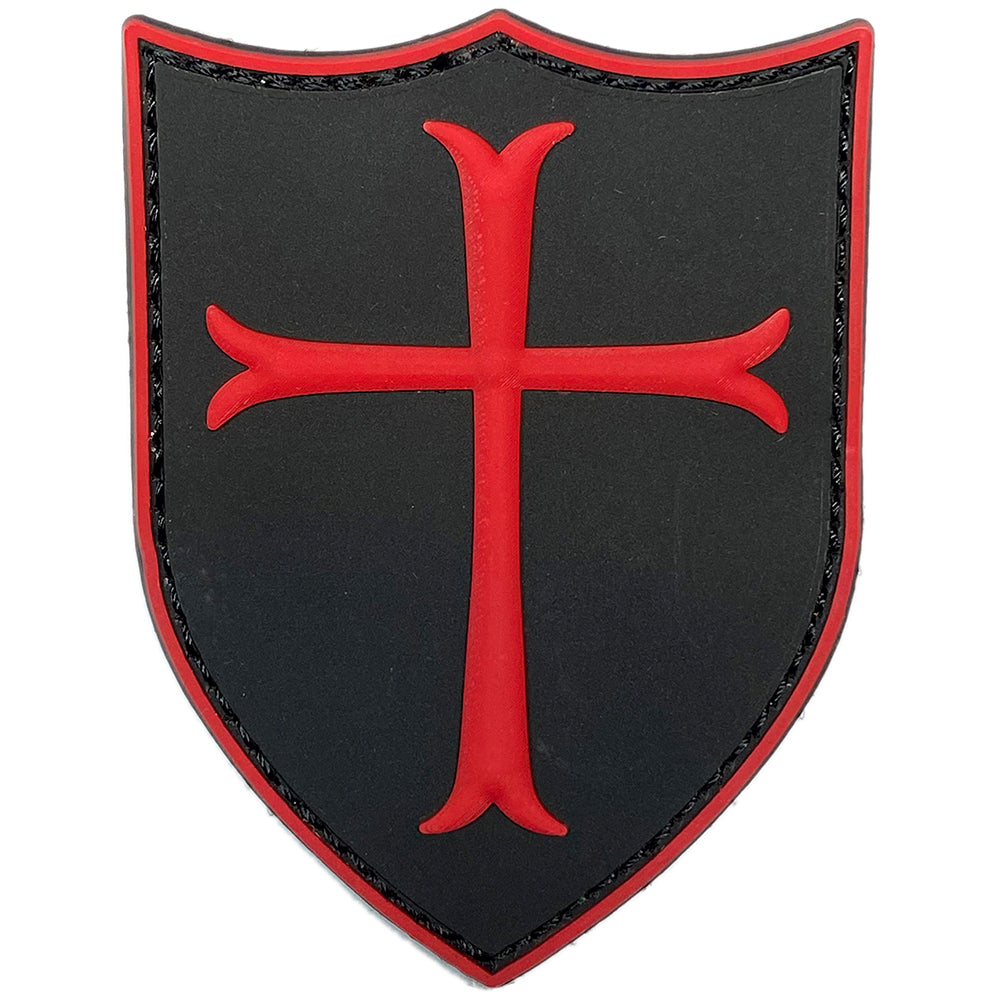 Crusader Shield PVC Velcro Patch - black / red