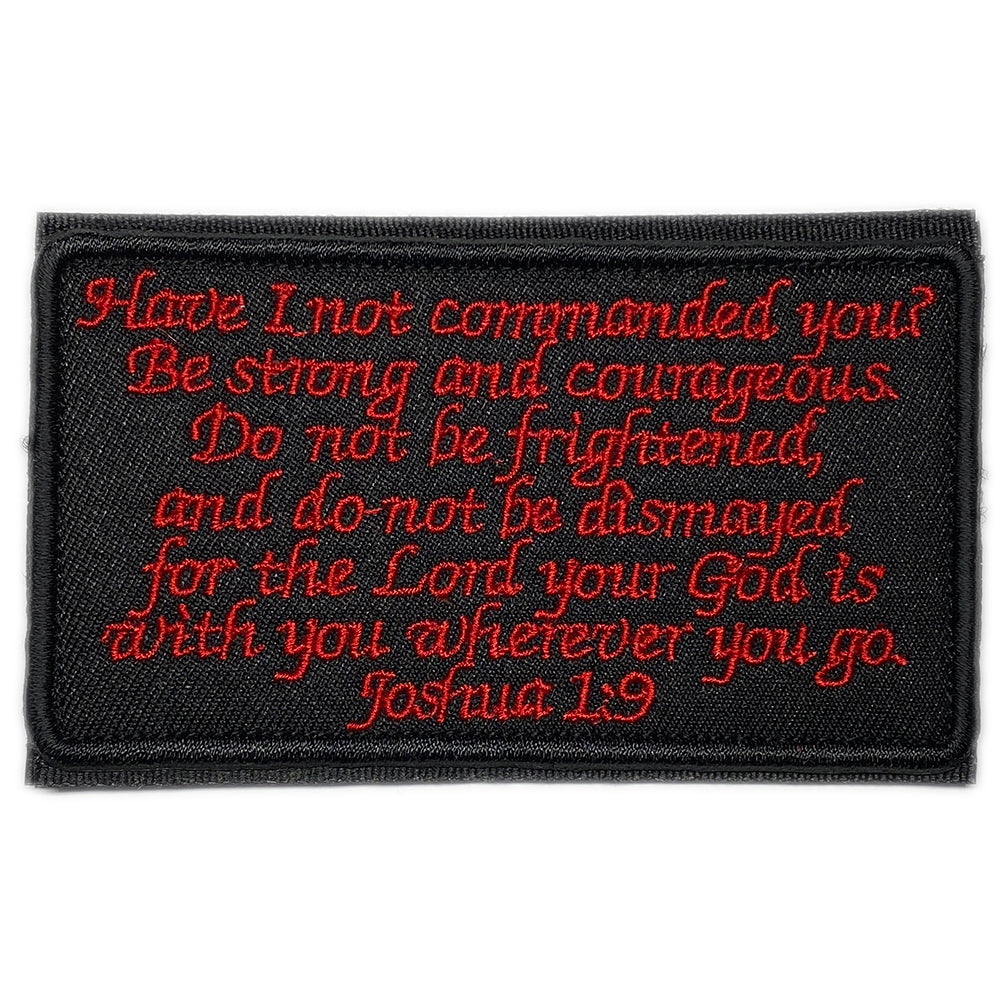 Embroidered velcro patch with the Joshua 1:9 bible verse - black / red