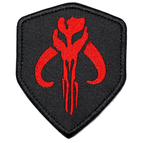 Mandalorian Embroidered Velcro Patch - Black / Red