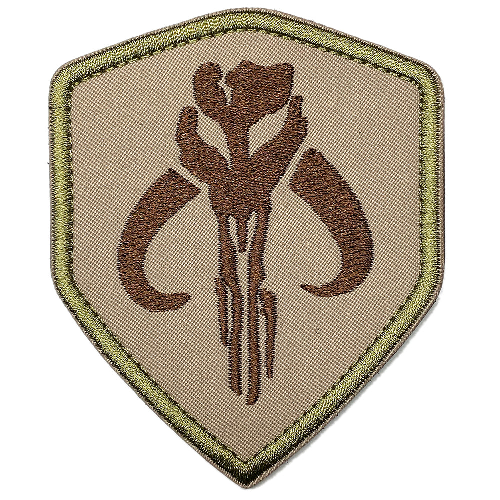Mandalorian embroidered velcro patch - Coyote Brown