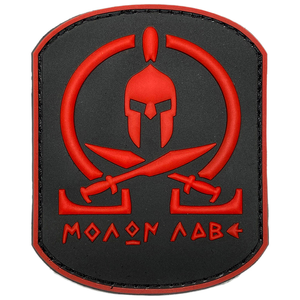Molon Labe Spartan Helmet & Swords PVC Velcro Patch - Black / Red