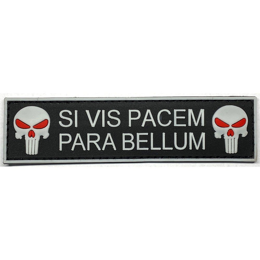 Si Vis Pacem Para Bellum Punisher Skull PVC Velcro Patch - Black / Glow