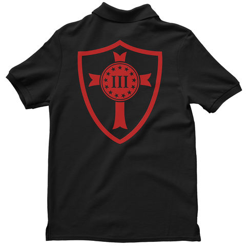 Polo Shirt - Three Percenter Crusader Shield - Black with Red