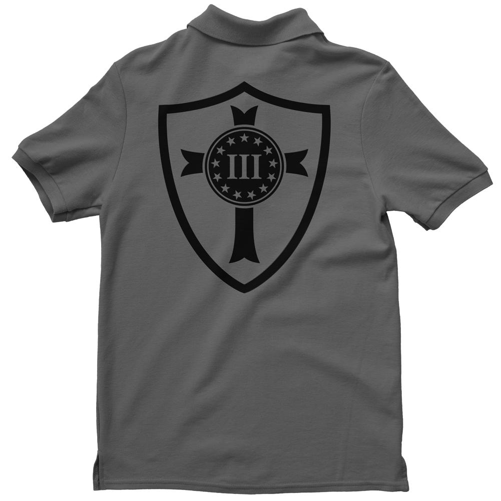 Polo Shirt - Three Percenter Crusader Shield - Charcoal with Black