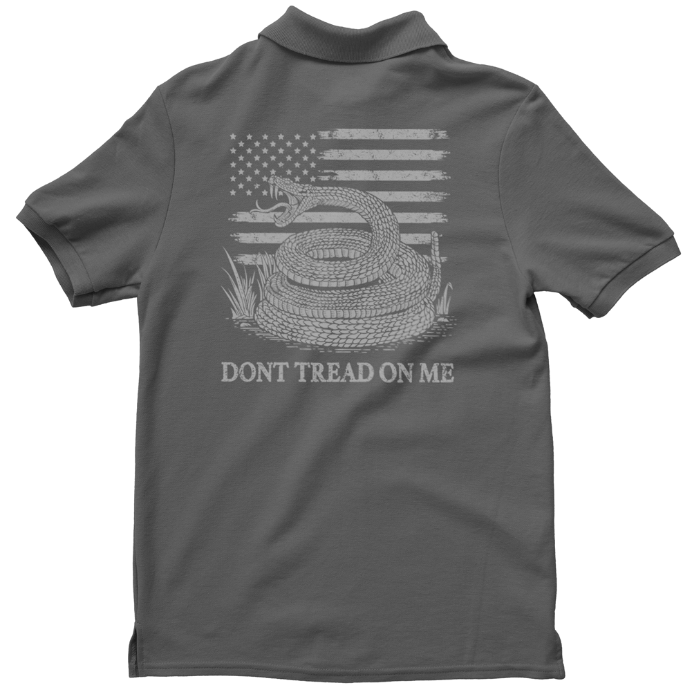 Polo Shirt - Dont Tread On Me - American Flag & Rattlesnake - Charcoal