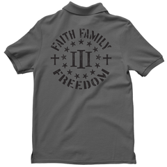 Polo Shirt - Three Percenter Faith Family Freedom - Charcoal with Black