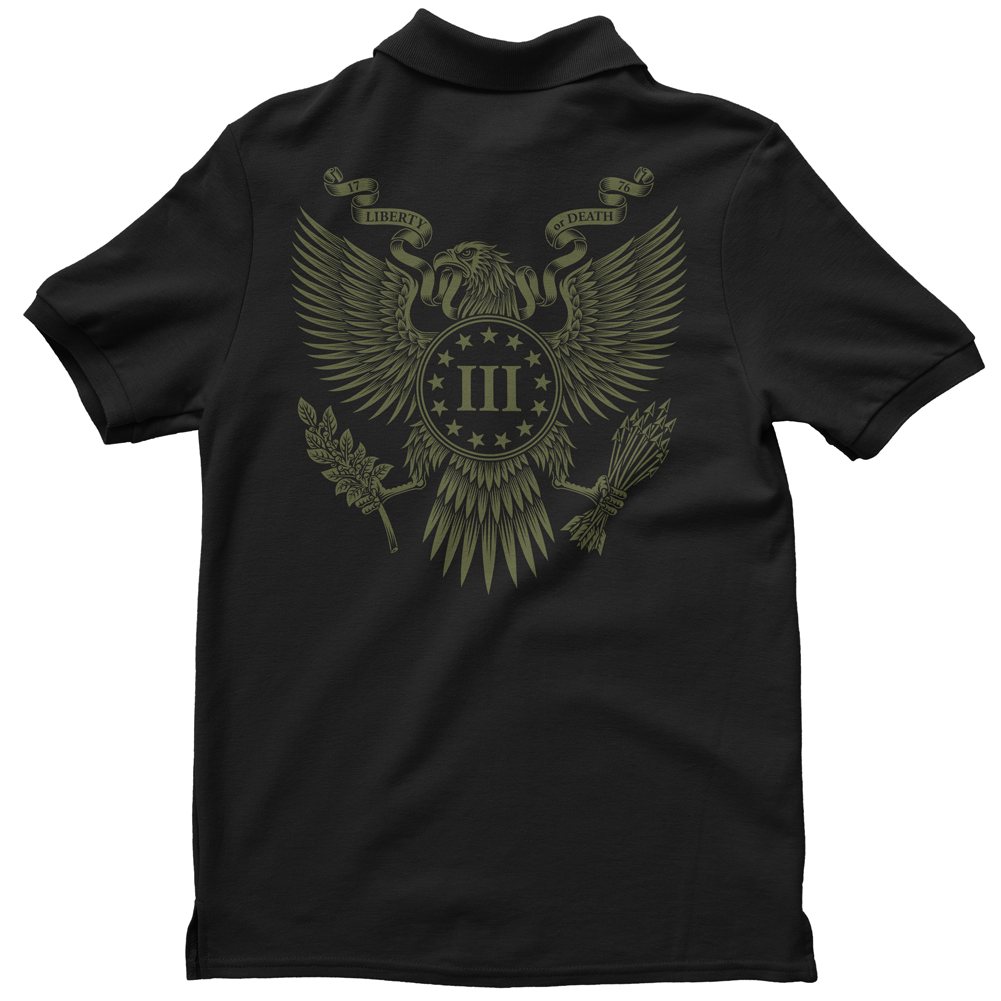 Polo Shirt - Three Percenter Great Seal of the III Percent - Black with OD Green