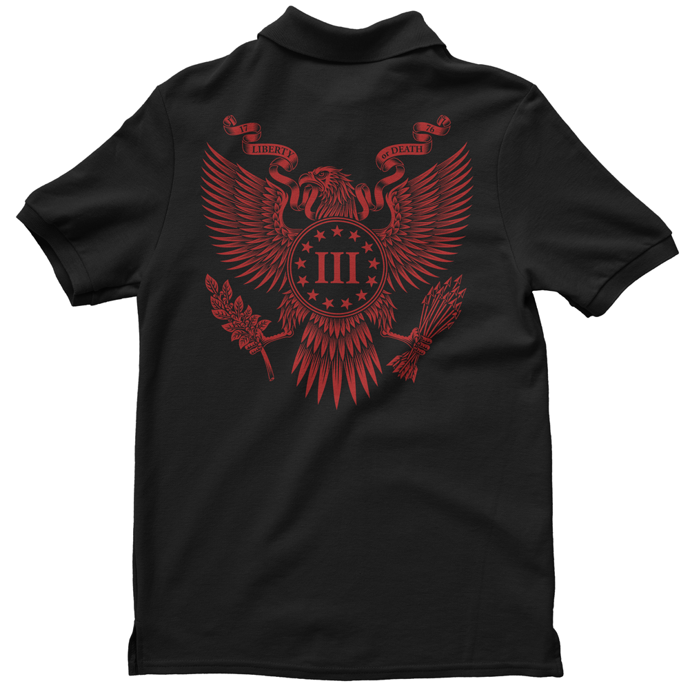 Polo Shirt - Three Percenter Great Seal of the III Percent - Black with Red