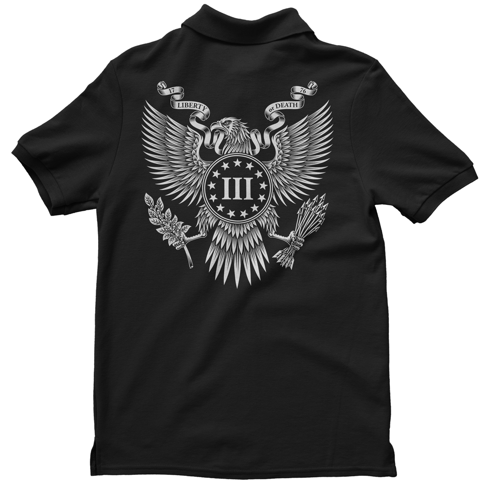 Polo Shirt - Three Percenter Great Seal of the III Percent - Black with White