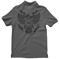 Polo Shirt - Three Percenter Great Seal of the III Percent - Charcoal with Black