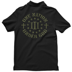 Polo Shirt - Three Percenter One Nation Under God - Black with OD Green