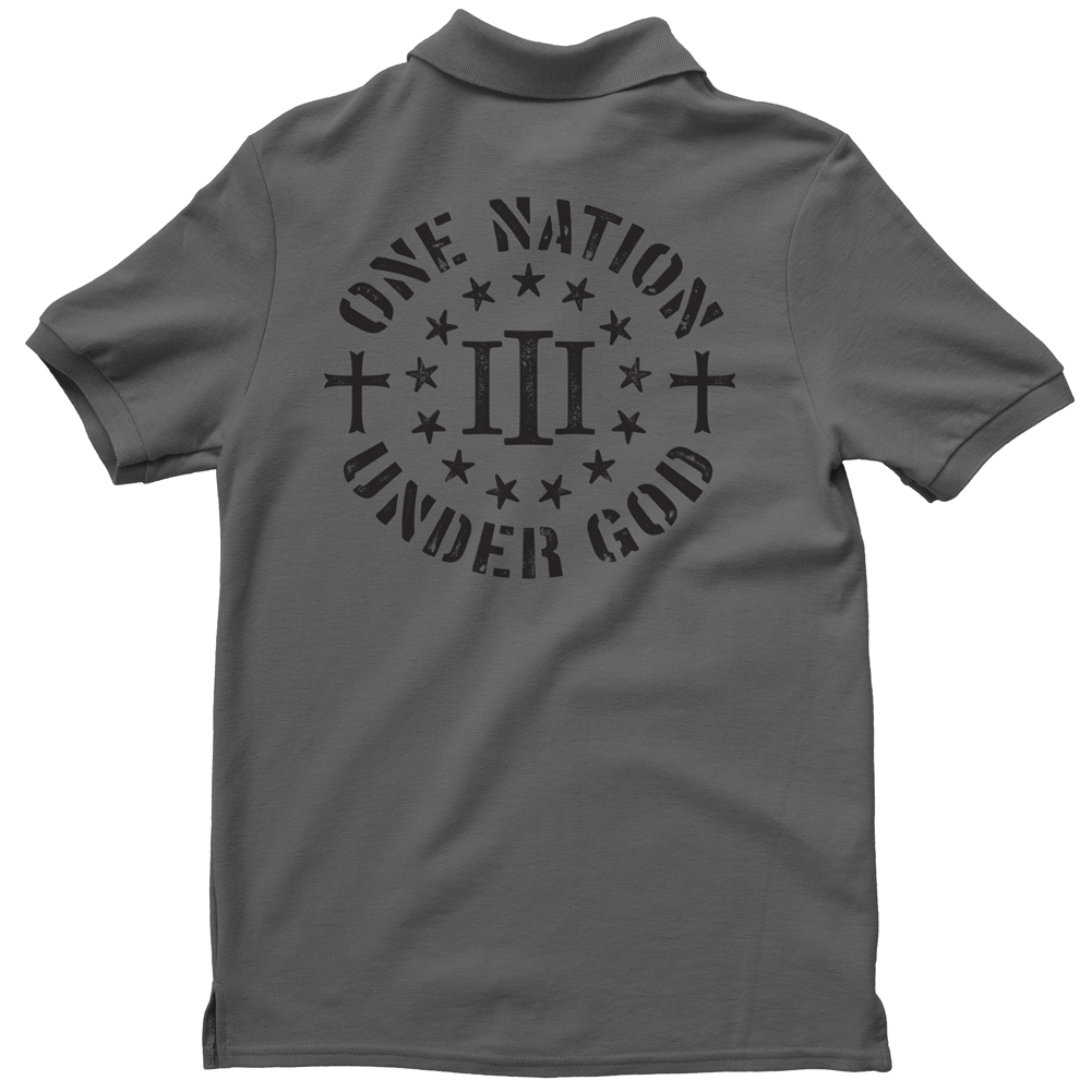 Polo Shirt - Three Percenter One Nation Under God - Charcoal with Black
