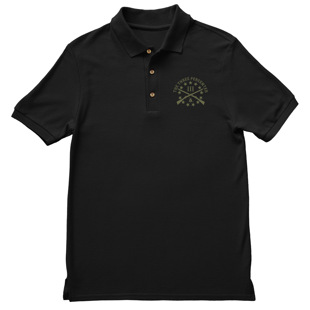 Polo Shirt - Three Percenter Small OG Logo - Black with OD Green