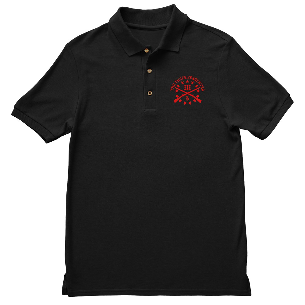Polo Shirt - Three Percenter Small OG Logo - Black with Red