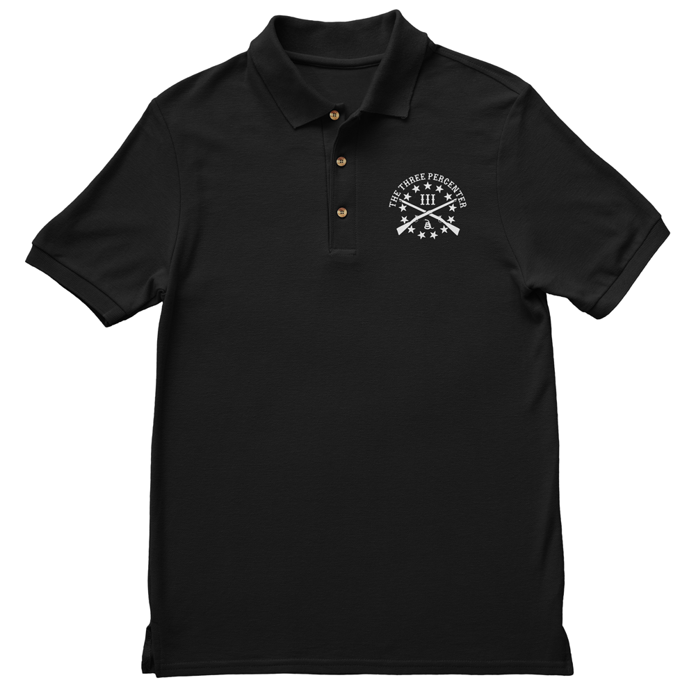 Polo Shirt - Three Percenter Small OG Logo - Black with White