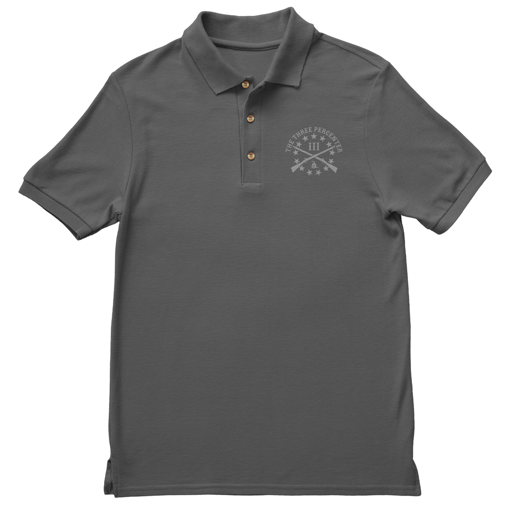 Polo Shirt - Three Percenter Small OG Logo - Charcoal with Grey