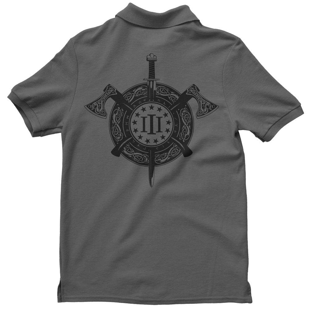 Polo Shirt - Three Percenter Viking Shield & Axes - Charcoal with Black