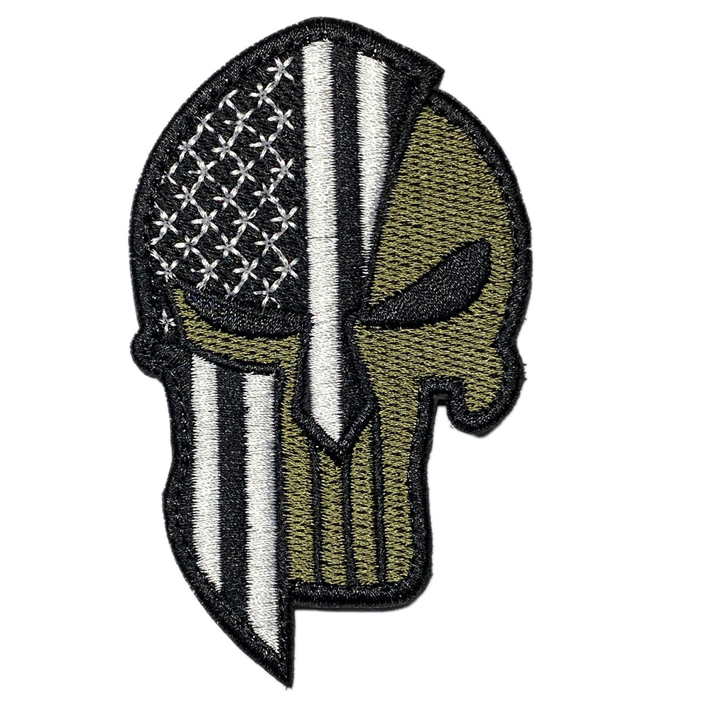 Punisher Spartan helmet American flag embroidered velcro patch - Olive / Black / White