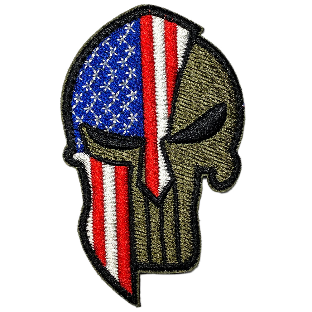 Punisher Spartan helmet American flag embroidered velcro patch - Olive / RWB