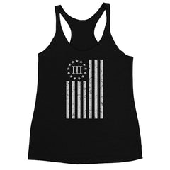 Three Percenter Womens Racerback Tank - Distressed Vertical Flag - Black