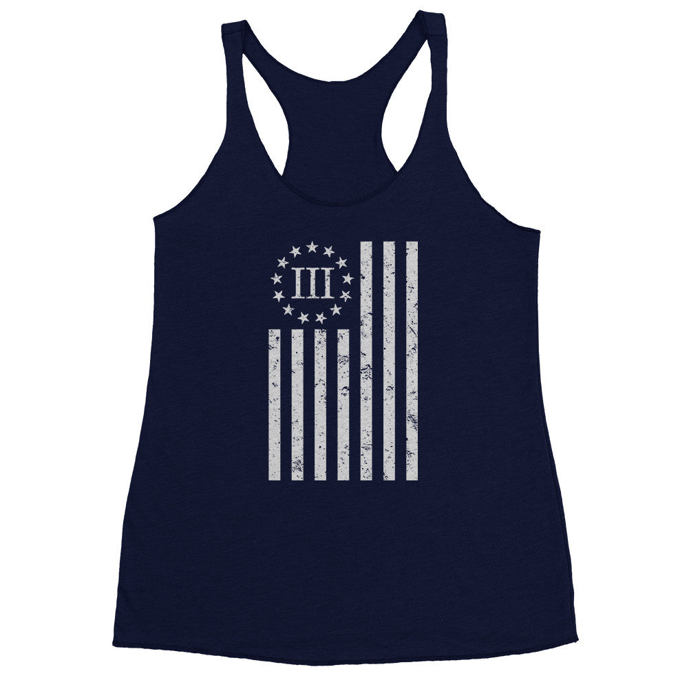 Three Percenter Womens Racerback Tank - Distressed Vertical Flag - Navy