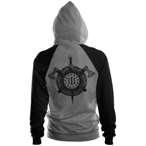 Three Percenter Pullover Raglan Hoodie - Viking Shield & Axes