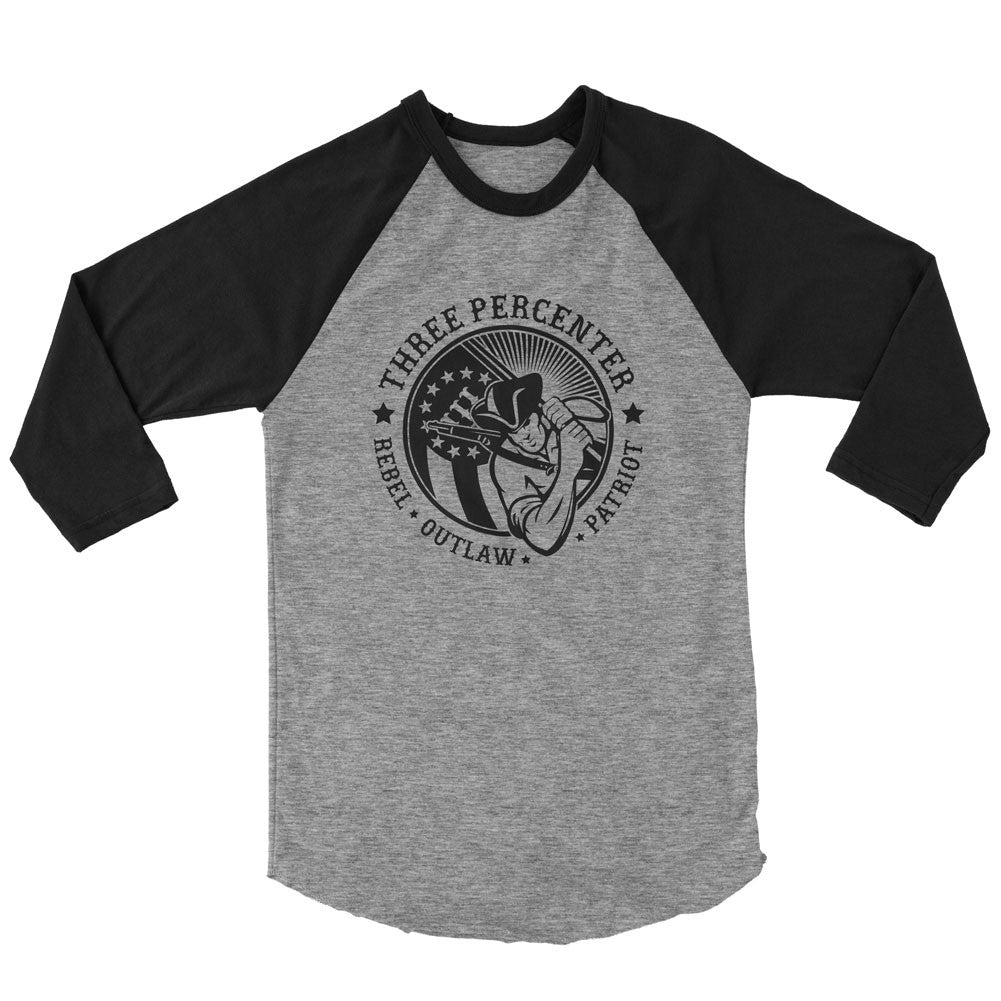 Three Percenter Raglan - Rebel Outlaw Patriot