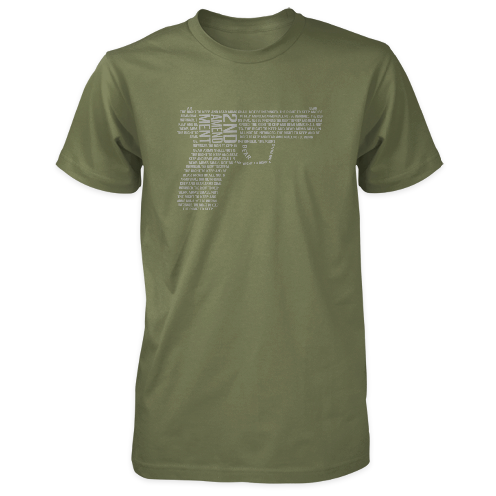 2nd Amendment Shirt - Shall Not Be Infringed Pistol - Military