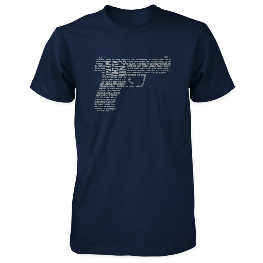 2nd Amendment Shirt - Shall Not Be Infringed Pistol - Navy