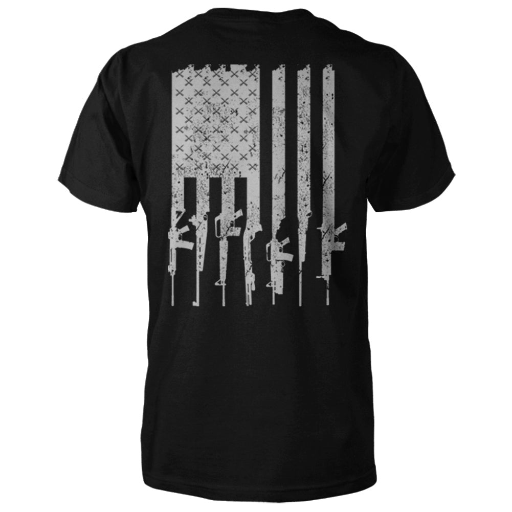 American Gun Flag Shirt - Black & Grey