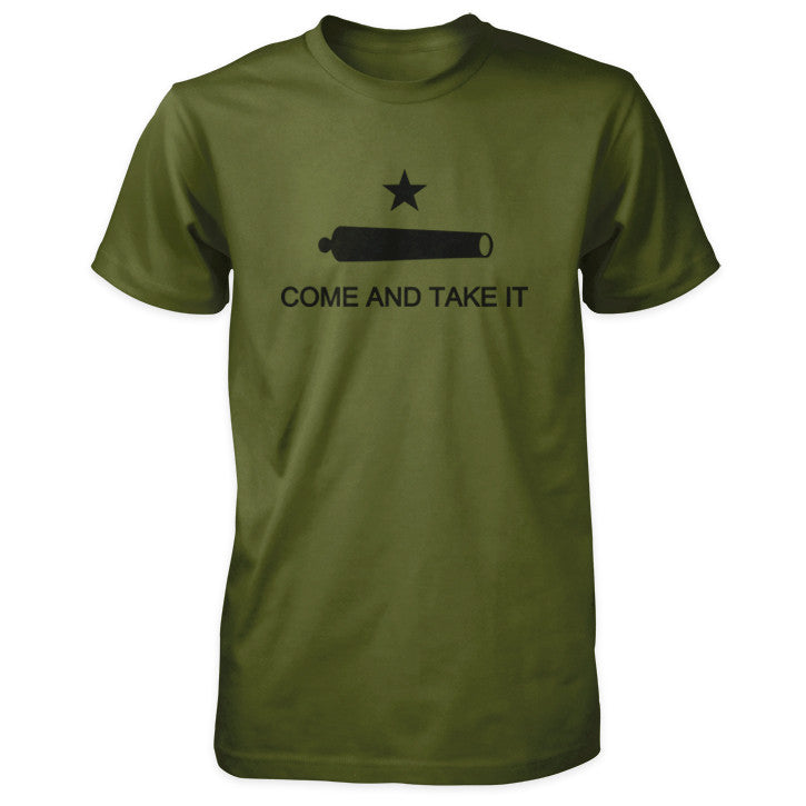 Texas Revolution Battle of Gonzales Come and Take It Flag Shirt - Olive Black