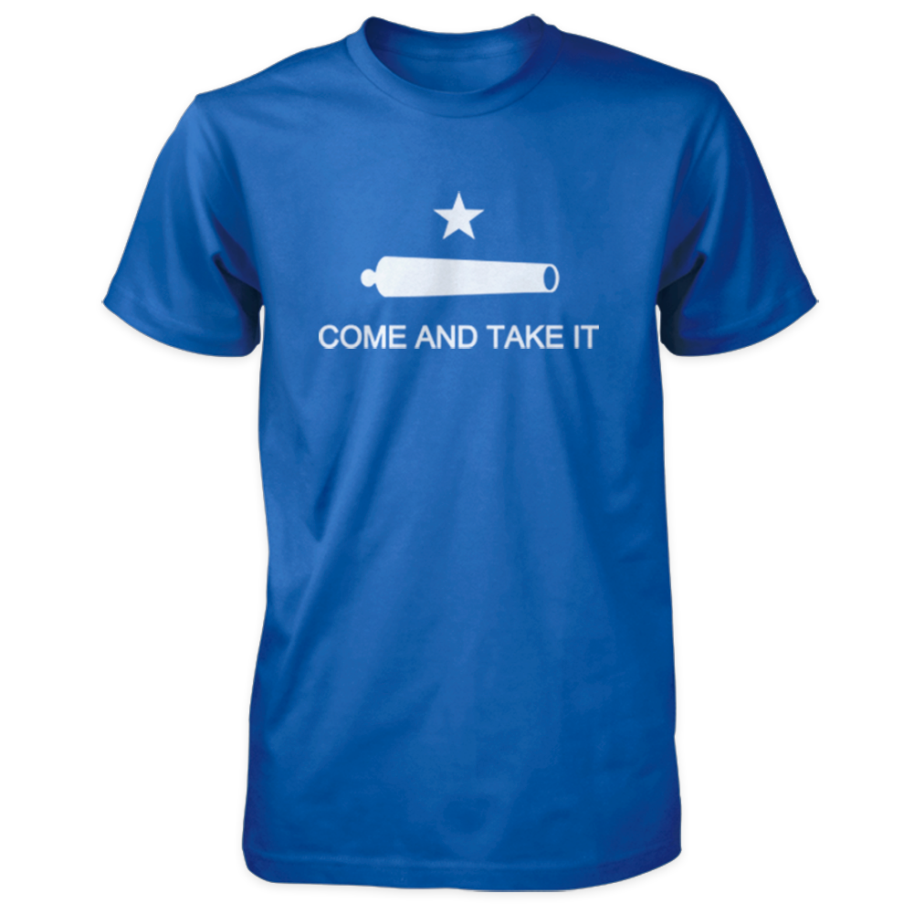 Come and Take It Shirt - Texas Revolution Battle of Gonzales Flag - Royal with White