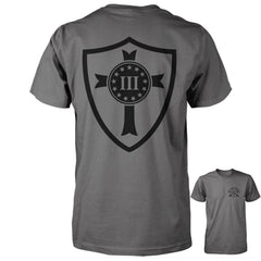 Three Percenter Shirt - Crusader Shield | Back Print - Charcoal
