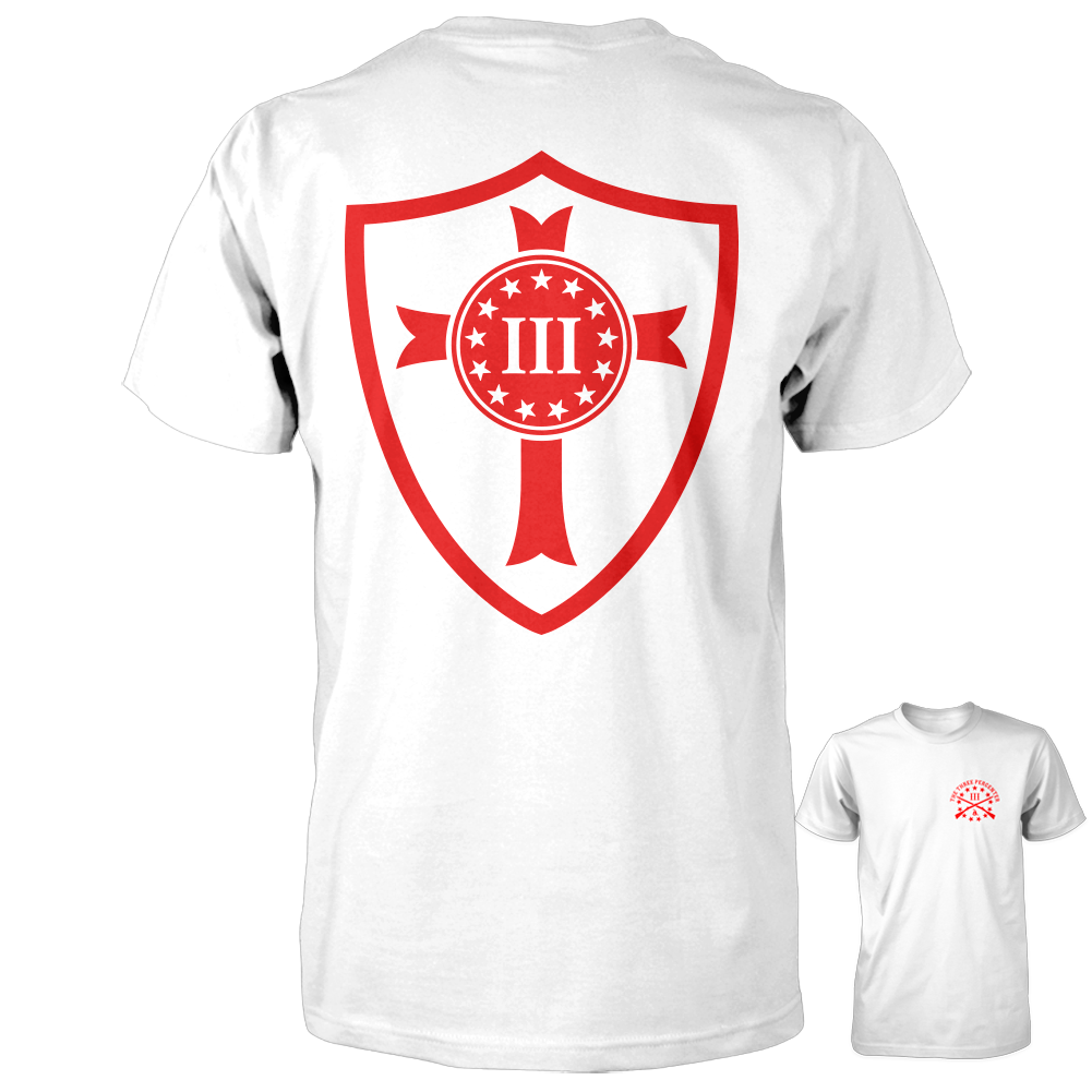 Three Percenter Crusader Shield Tee - White with Red