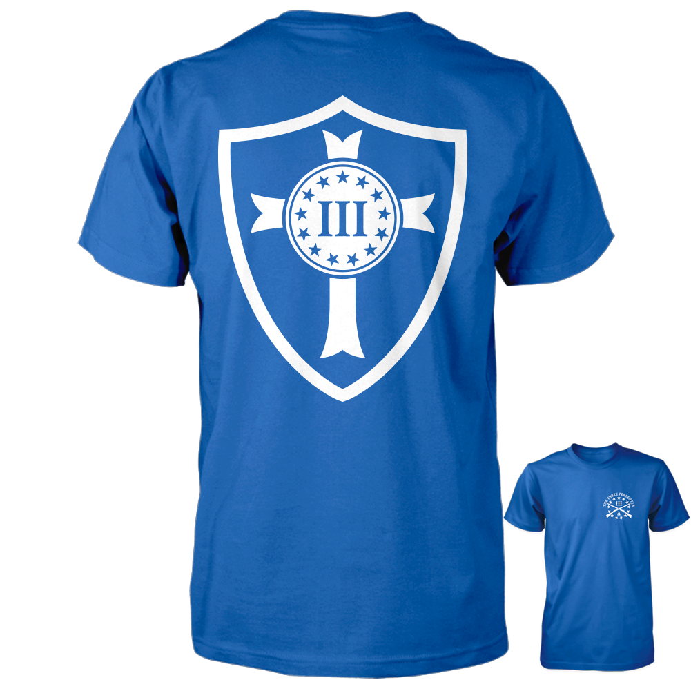 Three Percenter Shirt - Crusader Shield | Back Print - Royal with White