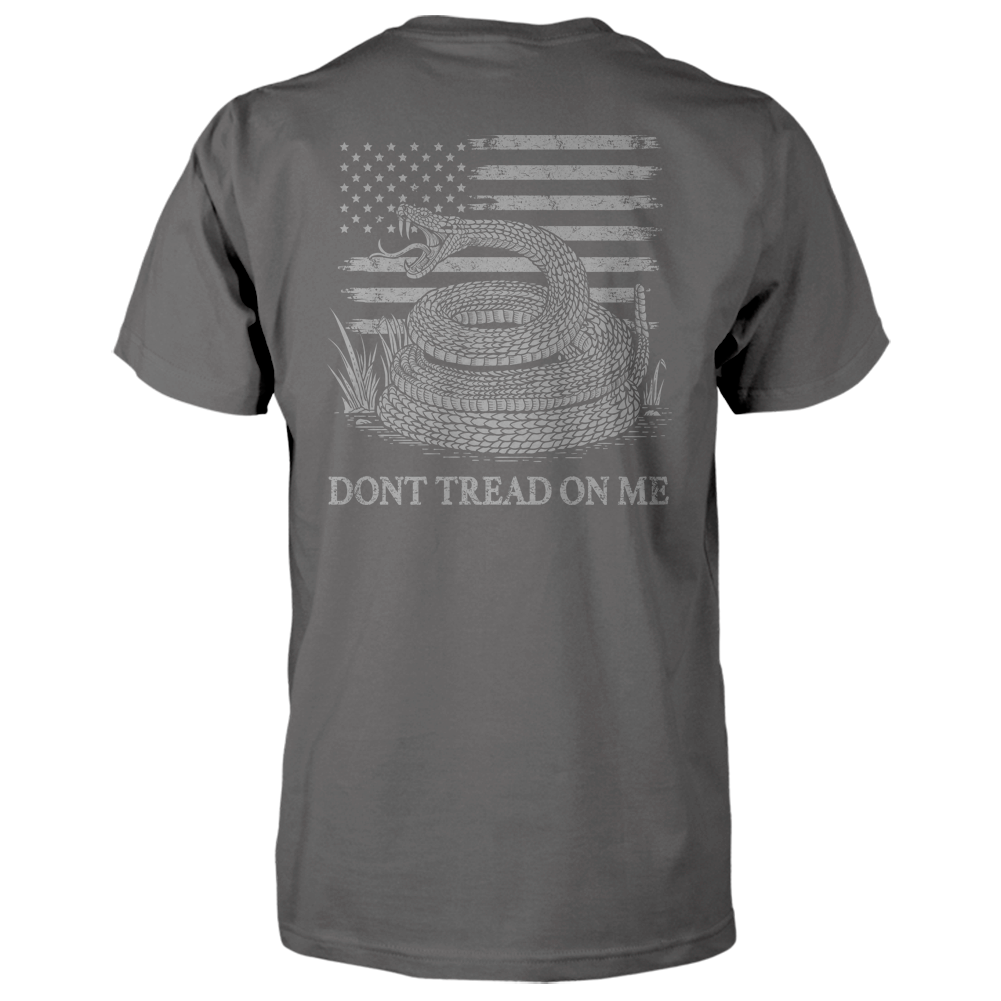 Dont Tread On Me Shirt - American Flag & Rattlesnake - Charcoal