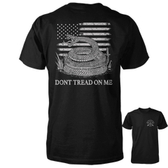 Dont Tread On Me Shirt - American Flag & Rattlesnake - Black