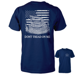 Dont Tread On Me Shirt - American Flag & Rattlesnake - Navy