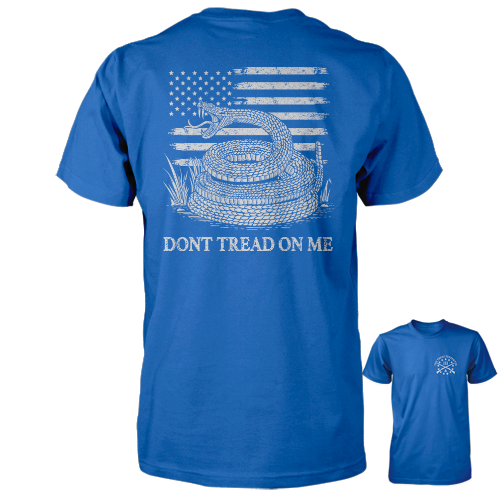 Dont Tread On Me Shirt - American Flag & Rattlesnake - Royal